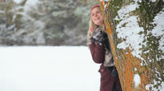 Young Caucasian Female Outside Snow Winter Day Stock Footage