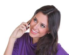 Young beautiful woman calling by phone Stock Photos