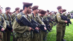 Golani Brigade recruits sing the Israeli Anthem Stock Footage