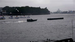 London Royal Jubilee Water pageant Time Lapse Stock Footage