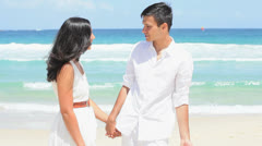 Attractive Young Caucasian Couple Tropical Beach Stock Footage