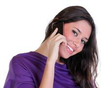 young beautiful woman calling by phone - stock photo