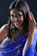 Stock Photo of closeup portrait of beautiful female wearing traditional indian
