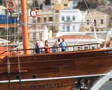 Galleon in harbor in Symi (Simi) Stock Footage