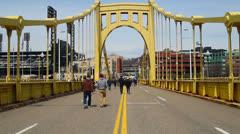 Roberto Clemente Bridge Walkers Stock Footage