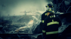 Firefighters in Action - Winter time Blaze Stock Footage