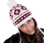 young happy woman in a knitted hat - stock photo