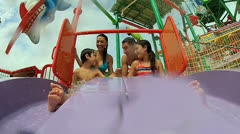 Laughing Children Water Park Slides Stock Footage
