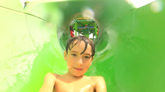 Childhood Fun at Water Theme Park Stock Footage