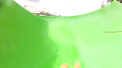 POV Legs Feet Caucasian Boy Water Park Slide Stock Footage