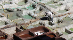 Manufactories - tanneries for dyeing leather, Fes, Morocco Stock Footage