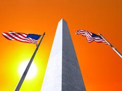Washington monument sunrise Stock Illustration