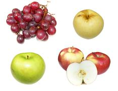 Much fruits on white background Stock Photos