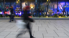 Time-lapse Karstadt Zeil galeria Shopping Window display at Zeil Frankfurt Stock Footage