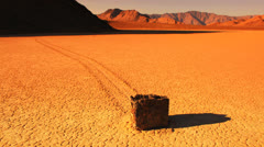 Magical Moving Rock of Racetrack Playa, Death Valley Stock Footage