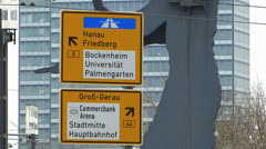 Frankfurt Messe Trade Fair traffic sign Germany Stock Footage