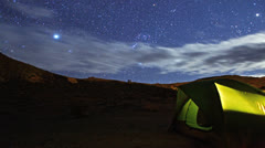 Epic Stars Timelapse Over Tent Camping on Mountain Stock Footage