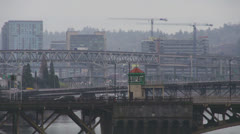 Portland Oregon - Misty City Of Bridges - Ambulance and Traffic Stock Footage
