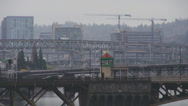 Stock Video Footage of Portland Oregon - Misty City Of Bridges - Ambulance and Traffic