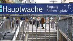 Commuters Hauptwache U-Bahn subway metro Frankfurt am Main Germany Stock Footage