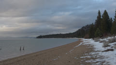 Waves on the shore of South Lake Tahoe in wintertime Stock Footage