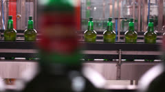 Technological line for bottling of beer in brewery. Stock Footage