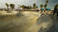 Venice Beach California Skatepark Timelapse Stock Footage