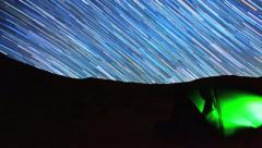 Stars Timelapse over Tent Switches to Amazing Star Trails Stock Footage
