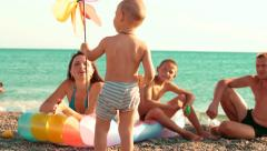 Family Summer Beach Holiday Stock Footage