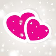 Cute vector background with two pink hearts - stock illustration