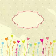 Vintage vector frame on floral background - stock illustration
