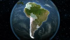 Spinning Earth with South American country maps. - stock footage