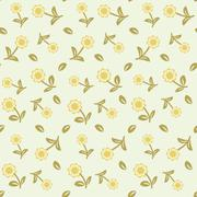 Cute floral seamless background - stock illustration