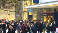 Stock Video Footage of Crowded Crowds consumers shoppers at Zeil in Frankfurt Germany