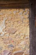 historic half-timbered wall detail - stock photo