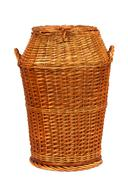 wicker laundry basket - stock photo