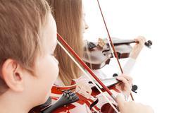 violin duet - stock photo