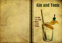 gin and tonic recipe - stock illustration