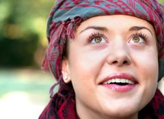 Woman wearing scarf Stock Photos