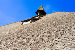 Roof detail of historic black forest farmhouse Stock Photos