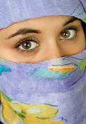 Young woman with a veil, close up portrait, studio picture Stock Photos