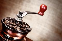 vintage coffee mill - stock illustration