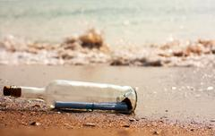 letter in a bottle - stock photo