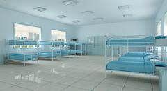 3d  bedroom, youth hostel dorm room Stock Illustration