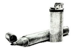 Lighter and felt tip pen Stock Photos