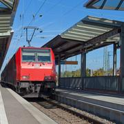 commuter train at station - stock photo