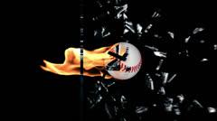 Baseball on fire breaking a glass Stock Footage