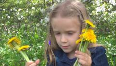 Child Counting Dandelion Flowers, Little Girl Playing on Grass in Park, Children Stock Footage