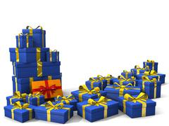 Many 3d gift boxes Stock Illustration