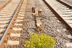 Sensor devices between railwaay tracks Stock Photos